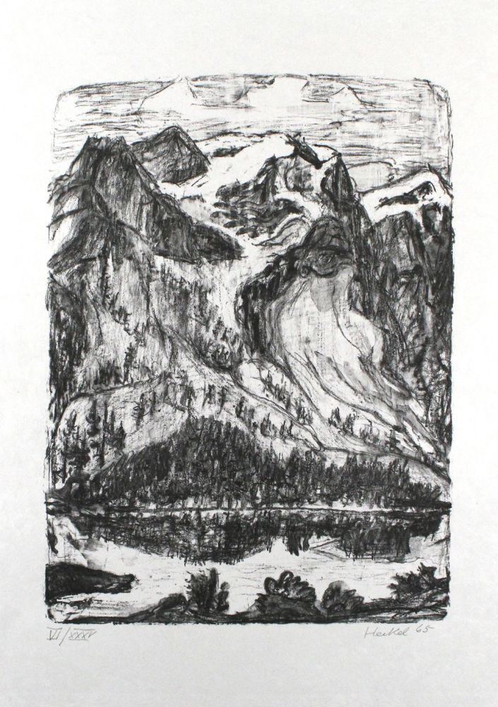 Lithograph Heckel - Berghang am See