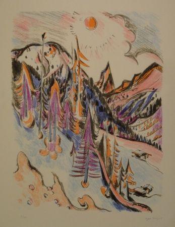 Lithograph Wiegers  - Berglandschaft bei Davos mit Tinzenhorn