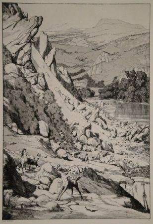 Etching And Aquatint Klinger - Bergsturz