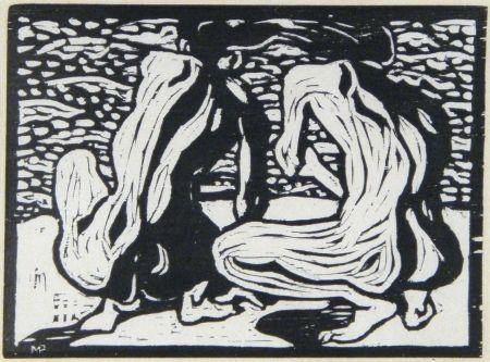 Woodcut Pechstein - Betrachtung (Watching Out)