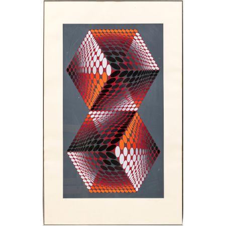 Screenprint Vasarely - Bi - tupa