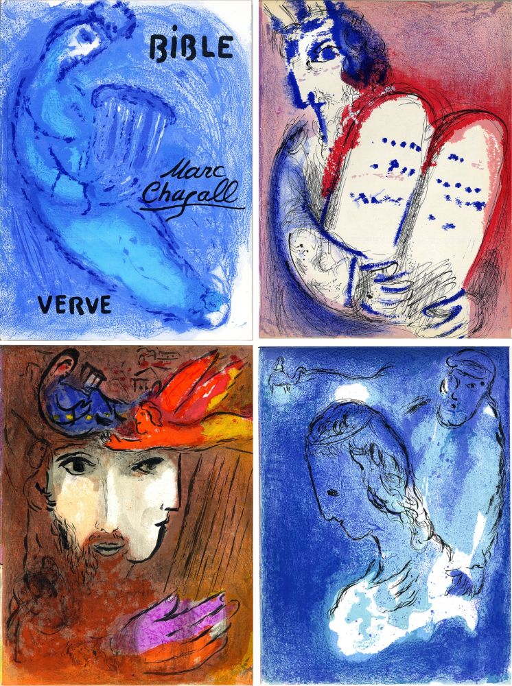 Illustrated Book Chagall - BIBLE. Verve vol. VIII. n°33 et 34. 16 LITHOGRAPHIES ORIGINALES (1956).