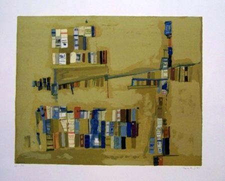 Lithograph Vieira Da Silva - Bibliothèque