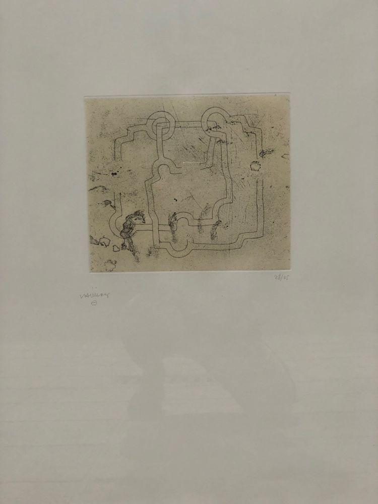 Etching And Aquatint Chillida - Bidearte I