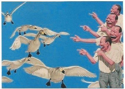 Screenprint Minjun - Big swans