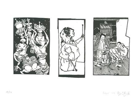 Linocut Grützke - Bilder aus Bongs Stall