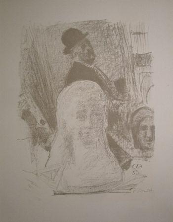 Lithograph Amiet - Bildnis des Künstlers mit Büste der Gattin