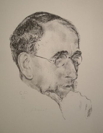 Lithograph Amiet - Bildnis Ernst Kreidolf in Dreiviertelansicht