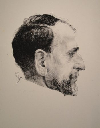 Lithograph Amiet - Bildnis Erst Kreidolf im Profil