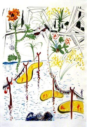 Lithograph Dali - Biological Garden