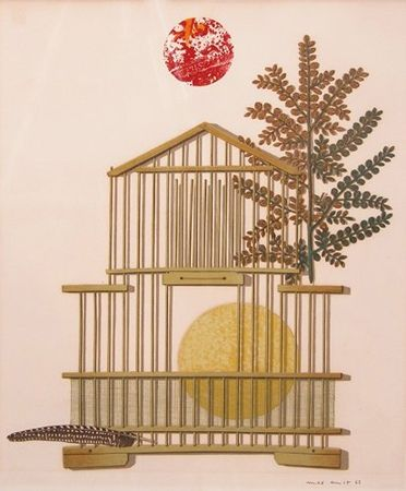 Lithograph Ernst - Bird Cage, Feather, Branch and Sun