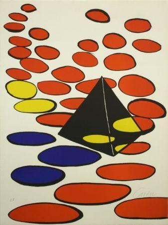 Lithograph Calder - BLACK PYRAMID WITH CIRCLE