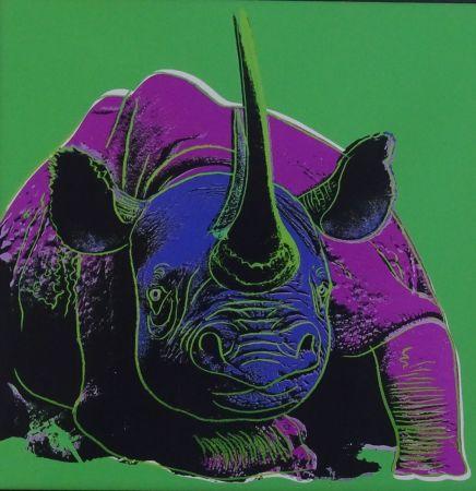 Screenprint Warhol - Black rhinoceros