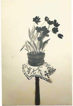 Lithograph Hockney - Black Tulips