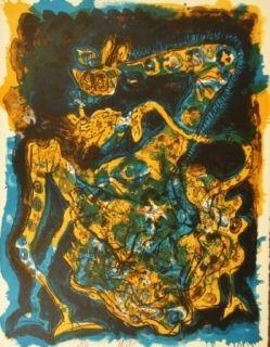 Lithograph Nieto - Blaugelbe Giraffe