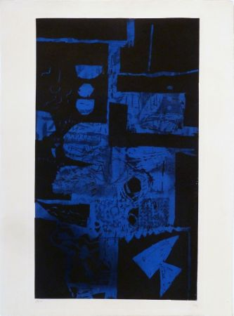 Etching And Aquatint Clavé - Bleu Noir
