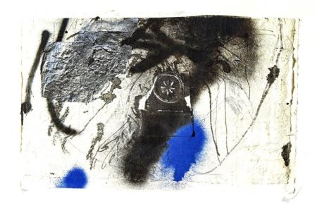 Lithograph Clavé - Blue Abstract Composition