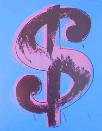 Screenprint Warhol - Blue Dollar