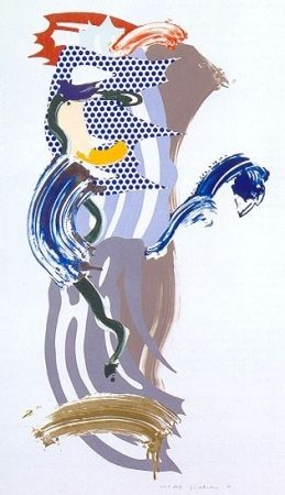 Screenprint Lichtenstein - Blue Face, Brushstoke Figure Series