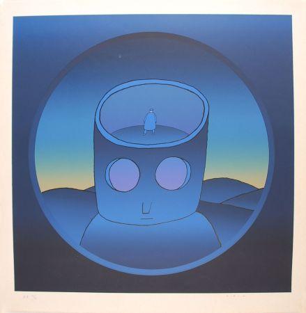 Screenprint Folon - Blue Man - L'Homme Bleu