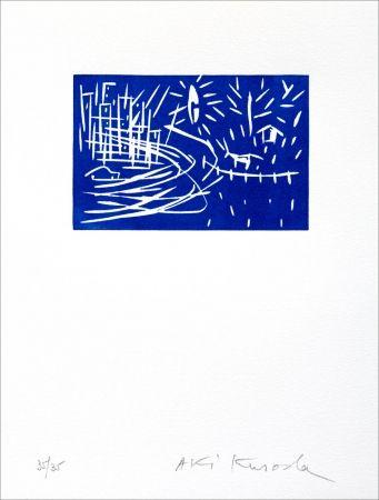 Linocut Kuroda - Blue Night