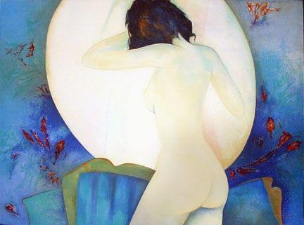 Lithograph Gaveau - Blue Nude III