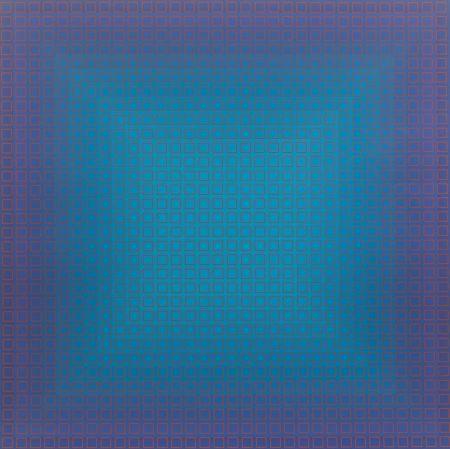 Screenprint Stanczak - Blue Orange, from Filtration Series