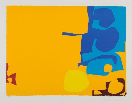 Screenprint Heron - Blues Dovetailed in Yellow