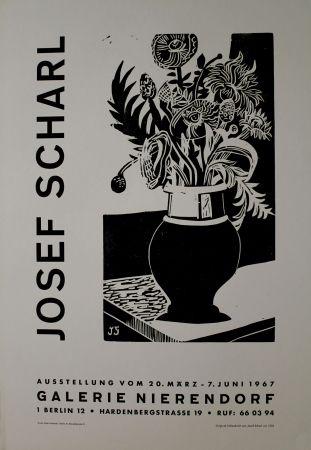 Woodcut Scharl - Blumen in hoher Vase