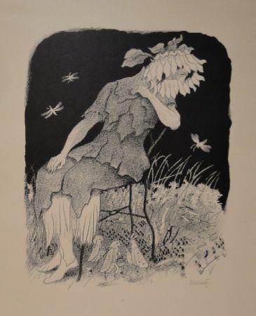 Lithograph Kreidolf - Blumenmädchen auf Stuhl sitzend, nach links unten zu Heuschrecken, Ameisen und Faltern blickend.