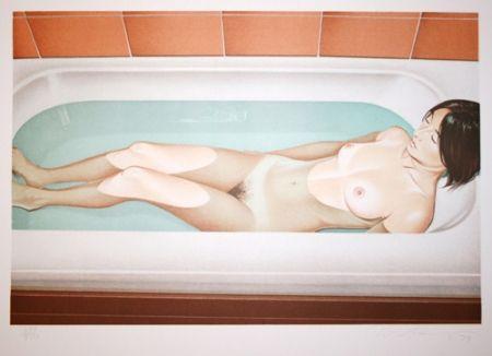 Lithograph Ramos - Bonnard bath