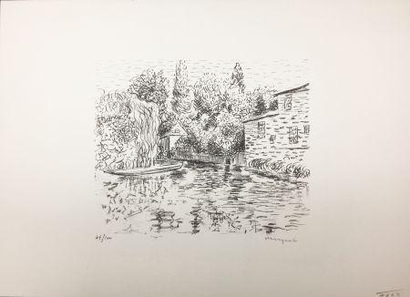 Lithograph Marquet - Bord de rivière