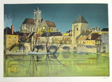 Lithograph Lecoindre - Bords de riviere