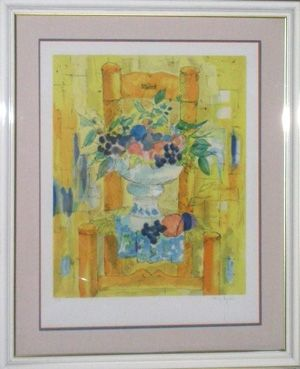 Lithograph Agostini  - Bouquet a la chaisse