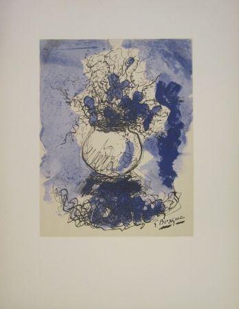 Lithograph Braque - Bouquet de fleurs à l'aquarelle