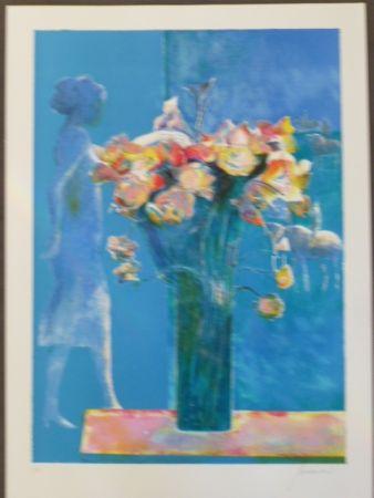 Lithograph Guiramand - Bouquet de fleurs et femme de profil