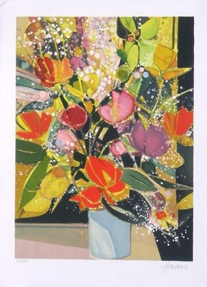 Lithograph Hilaire - Bouquet de tulipes