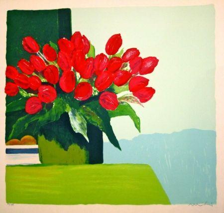 Lithograph Muhl - Bouquet de tulipes rouges
