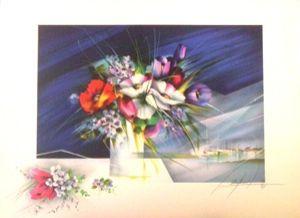 Lithograph Poulet - Bouquet devant le port