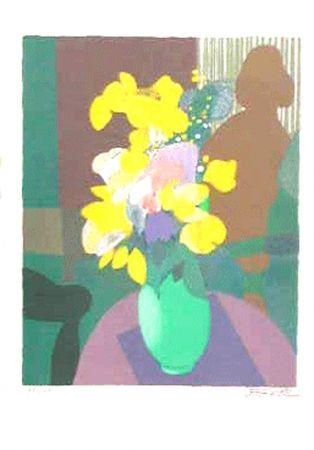 Lithograph Defossez - Bouquet et ombre de femme