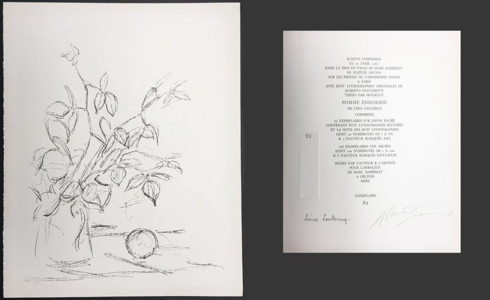 Lithograph Giacometti - BOUQUET ET POMME (Bouquet and Apple). Lithographie originale. 1961.