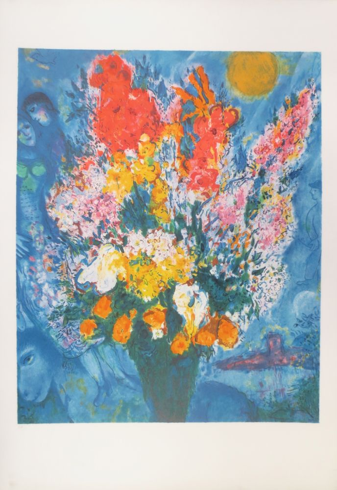 Lithograph Chagall - Bouquet illuminant le ciel