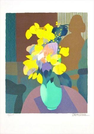Lithograph Defossez - Bouquet Jaune