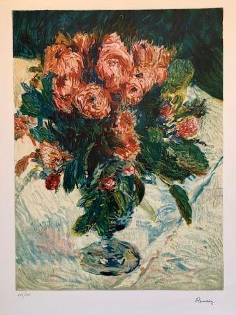 Lithograph Renoir - Bouquet of roses