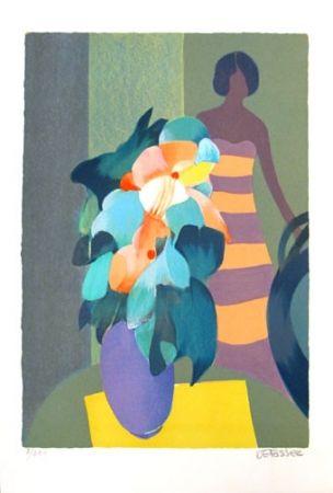 Lithograph Defossez - Bouquet Vert