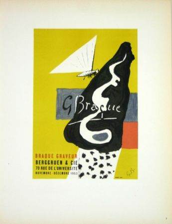 Lithograph Braque - Braque Graveur  Galerie Berggruen Paris 1953