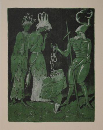 Lithograph Kreidolf - Brautwerbung. Käfer-Ritter, von einem Zwerg begleitet, wirbt mit einer Kette um das Akelei- und Rapunzel-Fräulein.