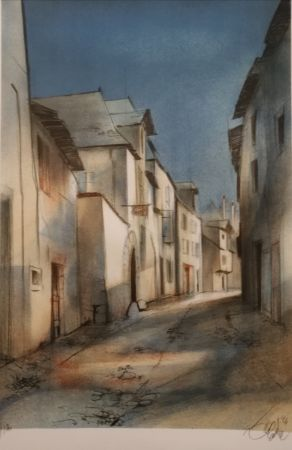 Lithograph Valadie - Brive - rue basse - Limousin