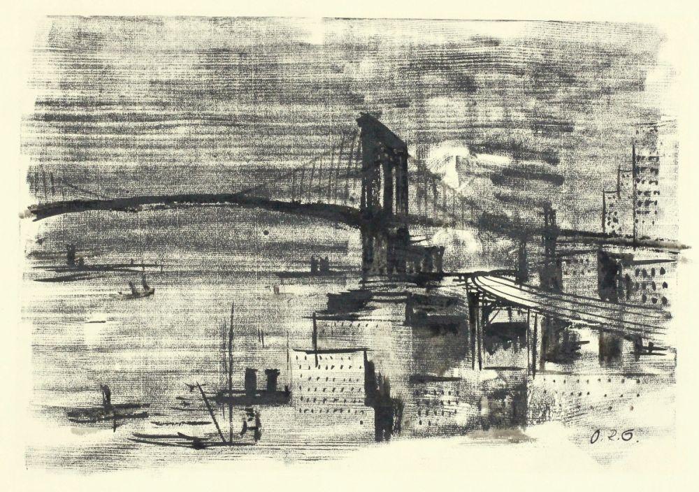 Woodcut Schatz - Brooklyn Bridge
