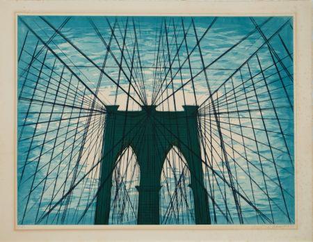 Aquatint Nesbitt - Brooklyn Bridge